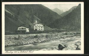 AK Häusling, Teilansicht mit der Kirche und Gasthof