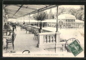 AK Martigny-les-Bains, vue des galeries et du pavillon de la source