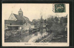 AK Essonnes, vue sur les moulins de l'Essonne