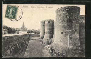 AK Angers, L'Église Saint-Laud et le Château
