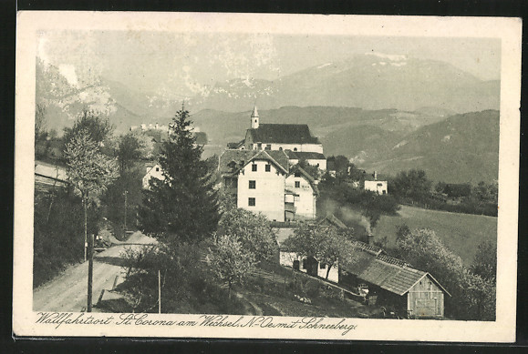 AK St. Corona, Blick auf den Wallfahrtsort mit Schneeberg