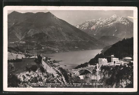 AK Corps, Vue d'ensemble du Pont, du Barrage et du Lac du Sautet