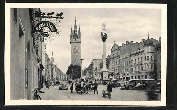 AK Straubing, Theresienplatz mit Stadtturm und Dreifaltigkeitssäule