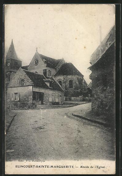 AK Elincourt-Sainte-Marguerite, l'abside de l'Eglise vue depuis la rue