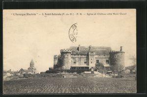 AK Saint-Saturnin, Eglsie et Château côté Nord Ouest