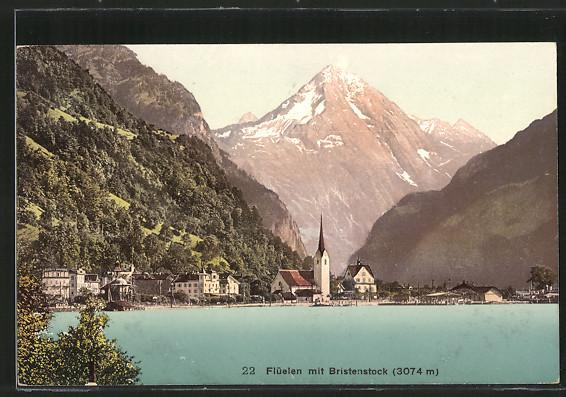 AK Flüelen, Ortspanorama mit Bristenstock