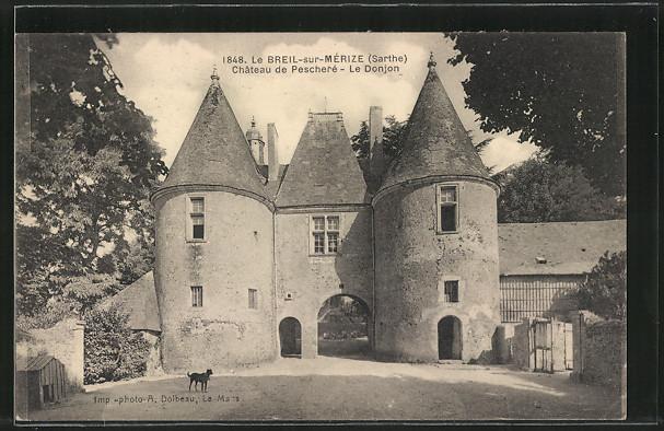 AK Le Breil-sur-Mérize, Château de Pescheré, Le Donjon