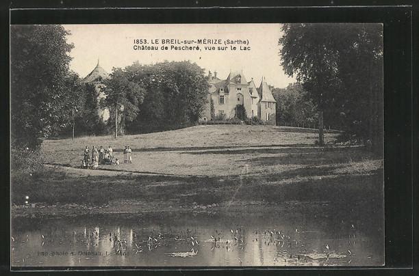 AK Le Breil-sur-Merize, Chateau de Peschere, vue sur le Lac