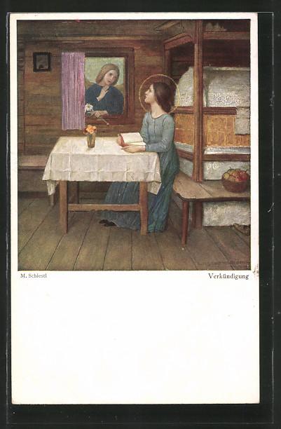 Künstler-AK Matthäus Schiestl: Verkündigung, Bäuerin beim Gebet in der Stube
