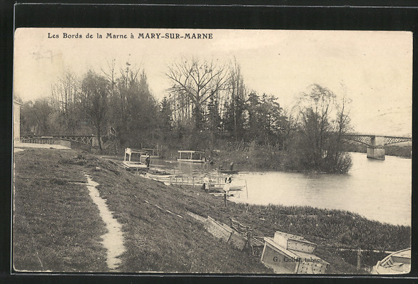 AK Mary-sur-Marne, les Bords de la Marne