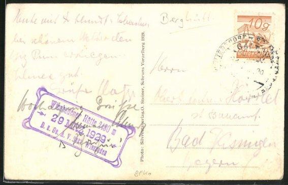 AK Hüttenstempel Wiesbadener Hütte D. & Ö. A. V. Sekt. Wiesbaden