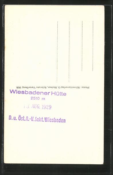 AK Hüttenstempel Wiesbadener Hütte D. & Ö. A.-V. Sekt. Wiesbaden