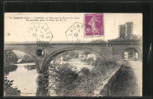 AK Luzech, l'arrivee en Ville par la Route de Caix, au premier plan, le Pont du P. O.