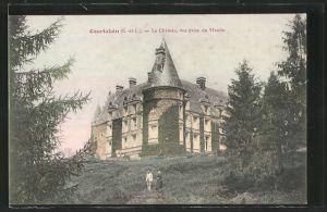AK Courtalain, Le Chateau, vue prise du Moulin