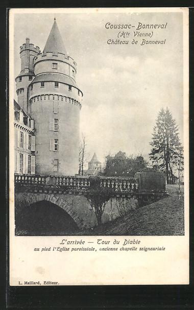 AK Coussac-Bonneval, Chateau de Bonneval, L'Arrivee, Tour du Diable