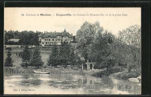 AK Ecquevilly, Le Château de Romainville, vu de la priece d'Eau