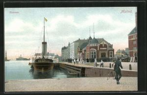 AK Malmö, Hamnen mit Dampfer
