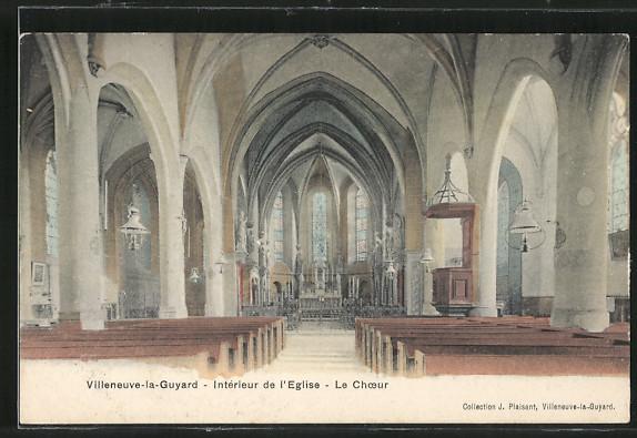 AK Villeneuve-la-Guyard, Intérieur de l'Eglise, Le Choeur