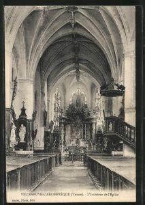 AK Villeneuve-L'Archeveque, L'Intérieur de l'Eglise