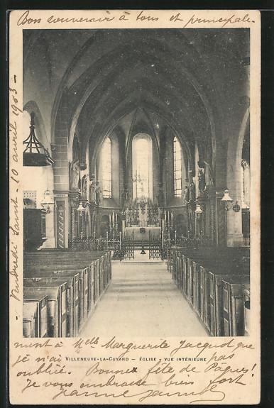 AK Villeneuve-la-Guyard, Eglise, Vue Intérieure