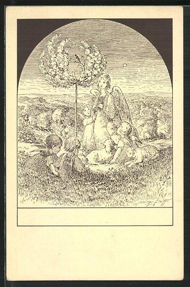Künstler-AK sign.Walter Cleff: Engel mit Engelchen und Schafen