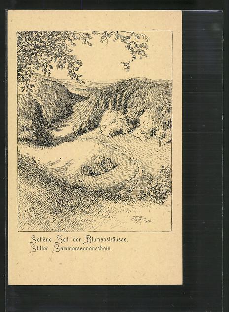 Künstler-AK sign.Walter Cleff: Engel mit einem Kind im Grünen