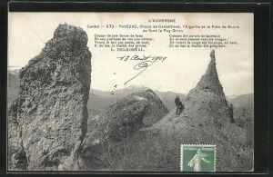 AK Thiezac, Chaos de Casteltinet, L'Aiguille et le Pain de Sucre, au fond le Puy Griou