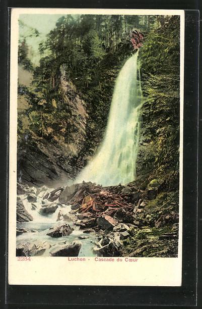 AK Luchon, Cascade du Coeur, Wasserfall mit Trümmern