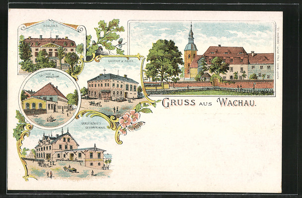 Lithographie Wachau, Ernst König\'s Geschäfthaus, Gasthof zum Anker, Gasthof zum Erbgericht