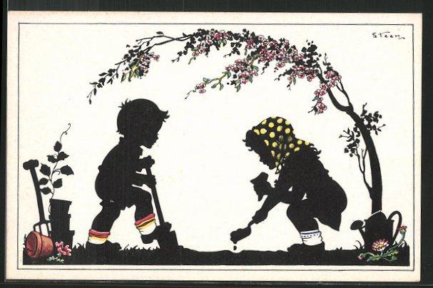 K nstler ak steen zwei kinder pflanzen blumen - Schattenbilder kinder ...