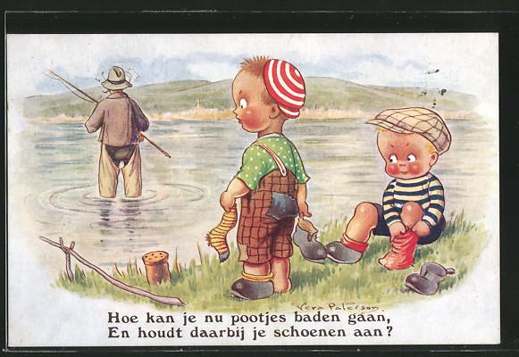 Künstler-AK sign. Vera Paterson: Kinder sehen einen Angler in Wathose