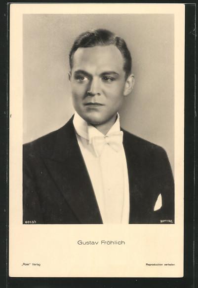 AK Schauspieler Gustav Fröhlich im Frack porträtiert
