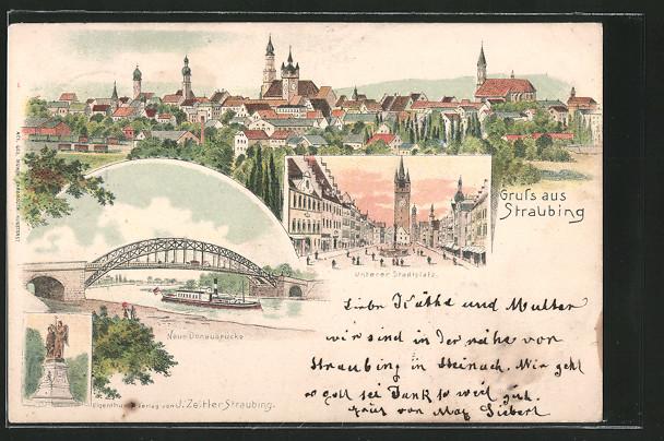 Lithographie Straubing, Neue Donaubrücke mit Dampfer, Unterer Stadtplatz