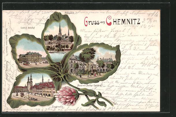 Passepartout-Lithographie Chemnitz, Börse mit Becker-Denkmal im Kleeblatt