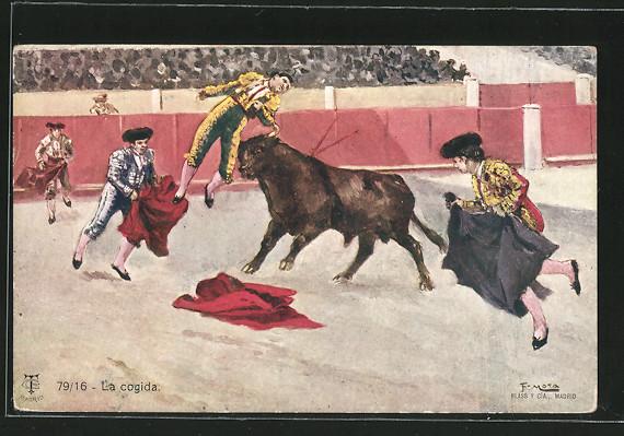 Künstler-AK Corrida de Toros / Stierkampf, La cogida, Stiert nimmt Torrero auf die Hörner