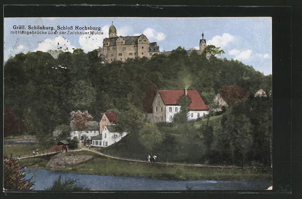AK Rochsburg, Panorama mit Gräfl. Schönburg u. Hängebrücke über der Zwickauer Mulde