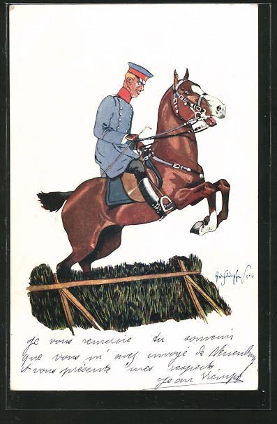 Künstler-AK Fritz Schönpflug: Kavallerist zu Pferd überspringt ein Hinderniss
