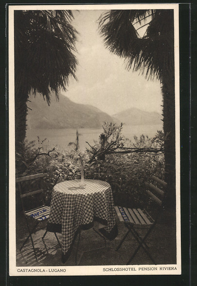 AK Castagnola-Lugano, Terrasse am Schlosshotel Pension Riviera