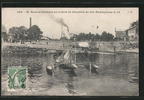 AK M. Santos-Dumont au volant de direction de son Hydroplane No. 18, Wasserflugzeug