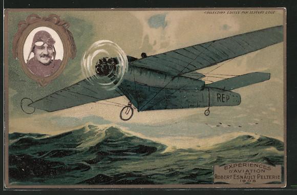 Präge-Lithographie Experiences d\'Aviation de Robert Esnault Pelterie 1908, Flugzeug