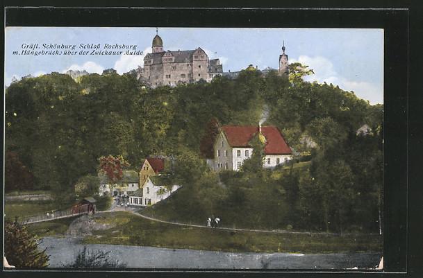 AK Rochsburg, Gräfl.Schönburg Schloss Rochsburg m.Hängebrücke über der Zwickauer Mulde