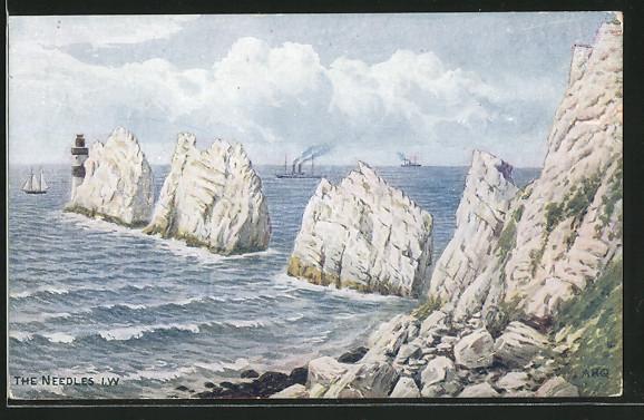 Künstler-AK sign. A.R. Quinton: Weisse Felsen im Meer
