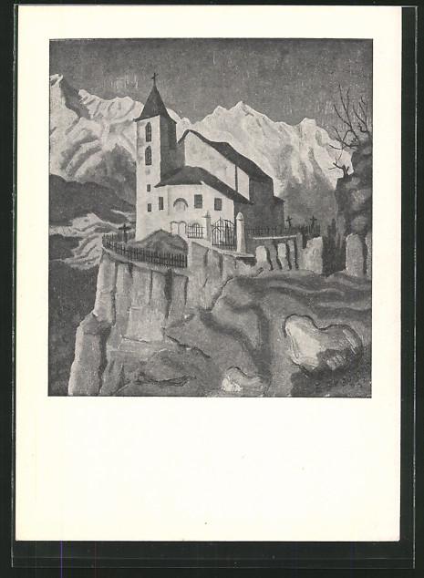 Künstler-AK sign.Erich Stegmann: Bergkapelle mit schneebedeckten Bergen