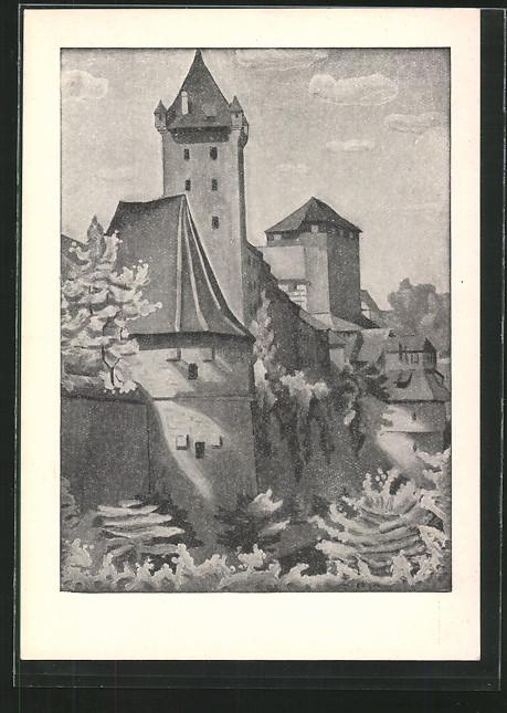 Künstler-AK sign.Erich Stegmann: Nürnberg, Nürnberger Burg