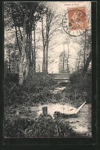 AK Nojeon-le-Sec, le lavoir et le pont