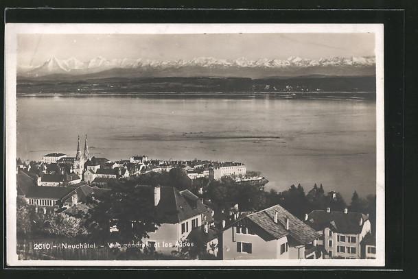 AK Neuchâtel, Vue générale et les Alpes