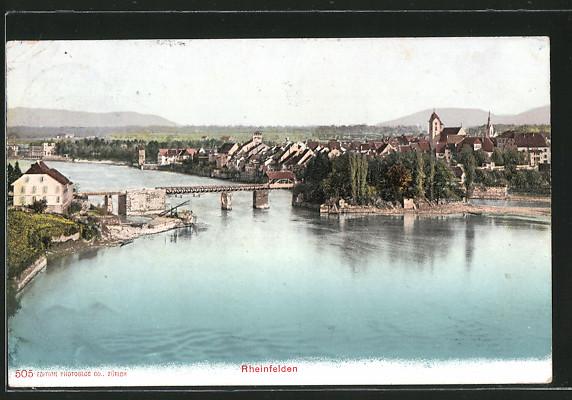 AK Rheinfelden, Gesamtansicht mit Rheinbrücke