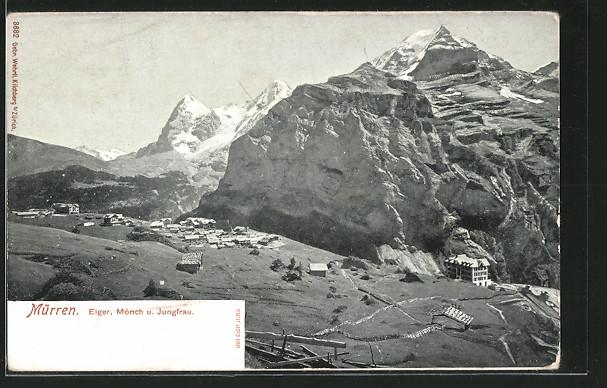 AK Mürren, Gesamtansicht mit Eiger, Mönch u. Jungfrau
