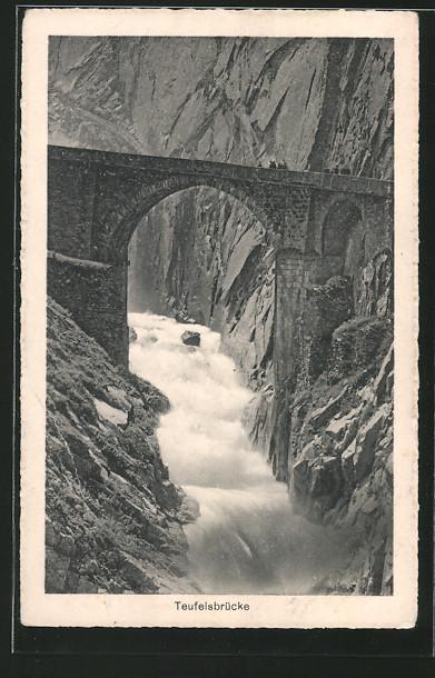 AK Göschenen, Blick auf Teufelsbrücke