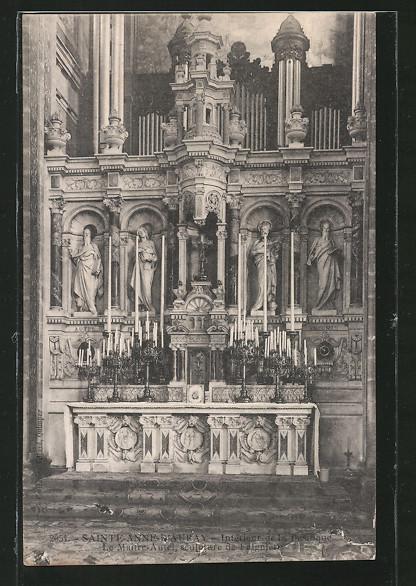 AK Sainte-Anne-d'Auray, Interieur de la Basilique, Orgel, Le Maitre-Autel, sculpture de Falguiere